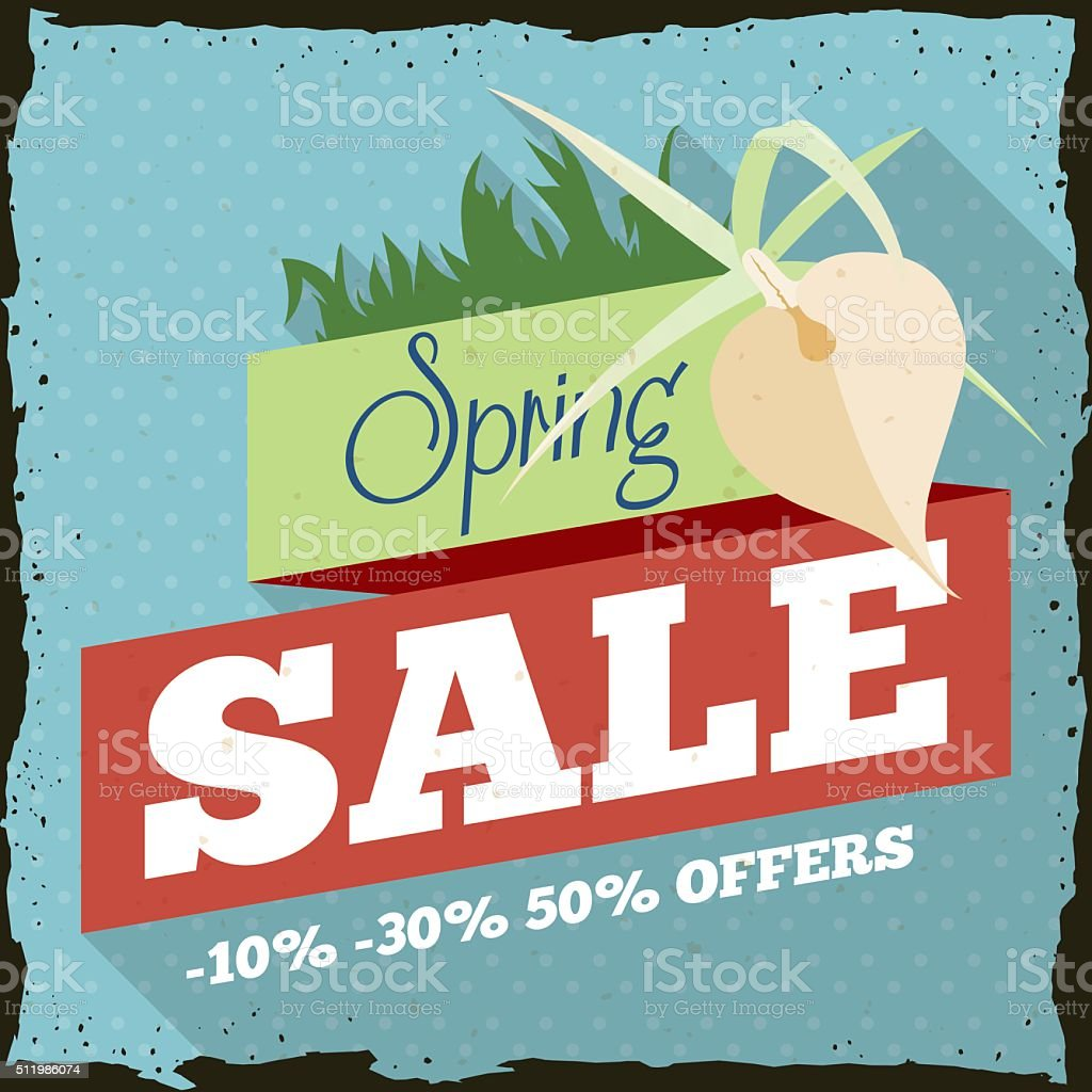 Spring Sale with a Orchid in Retro Advertising Design vector art illustration
