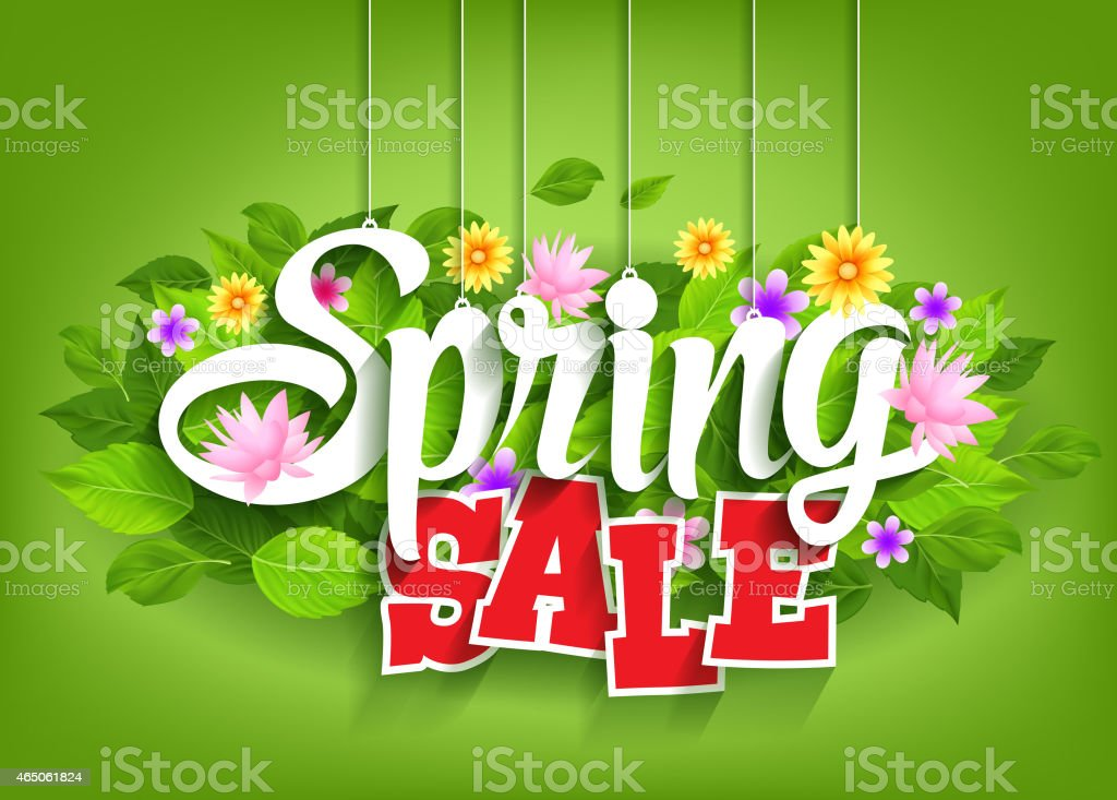 Spring Sale Word Hanging on Leaves with Strings vector art illustration