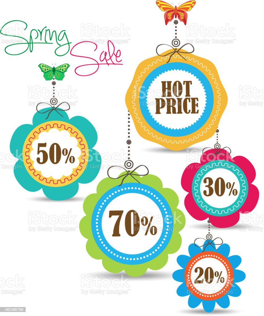 Spring Sales Icons vector art illustration