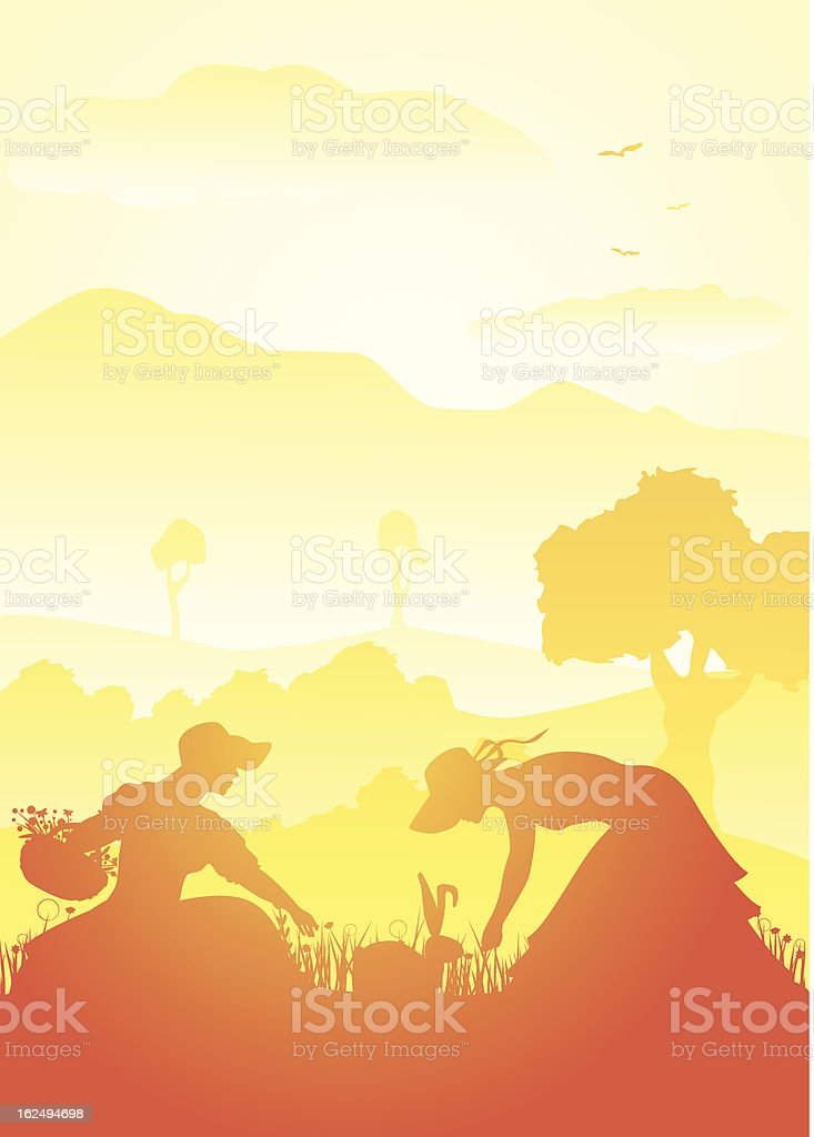 Spring scene with easter bunny royalty-free stock vector art