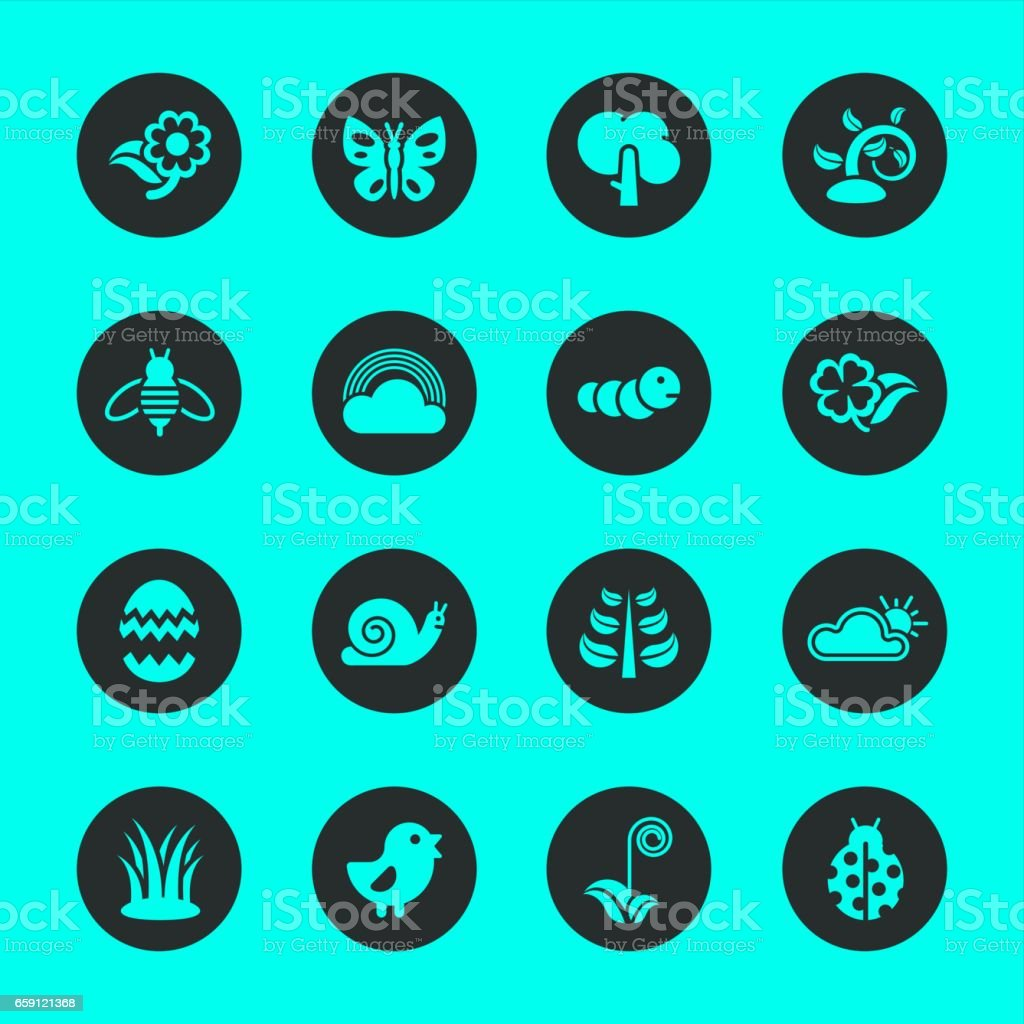 Spring Season Icons - Black Circle Series vector art illustration