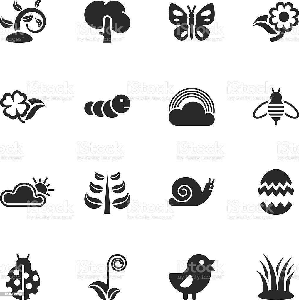 Spring Season Silhouette Icons vector art illustration