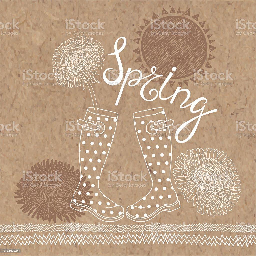 Spring  set. Hand-drawn vector  illustration on kraft paper background. vector art illustration