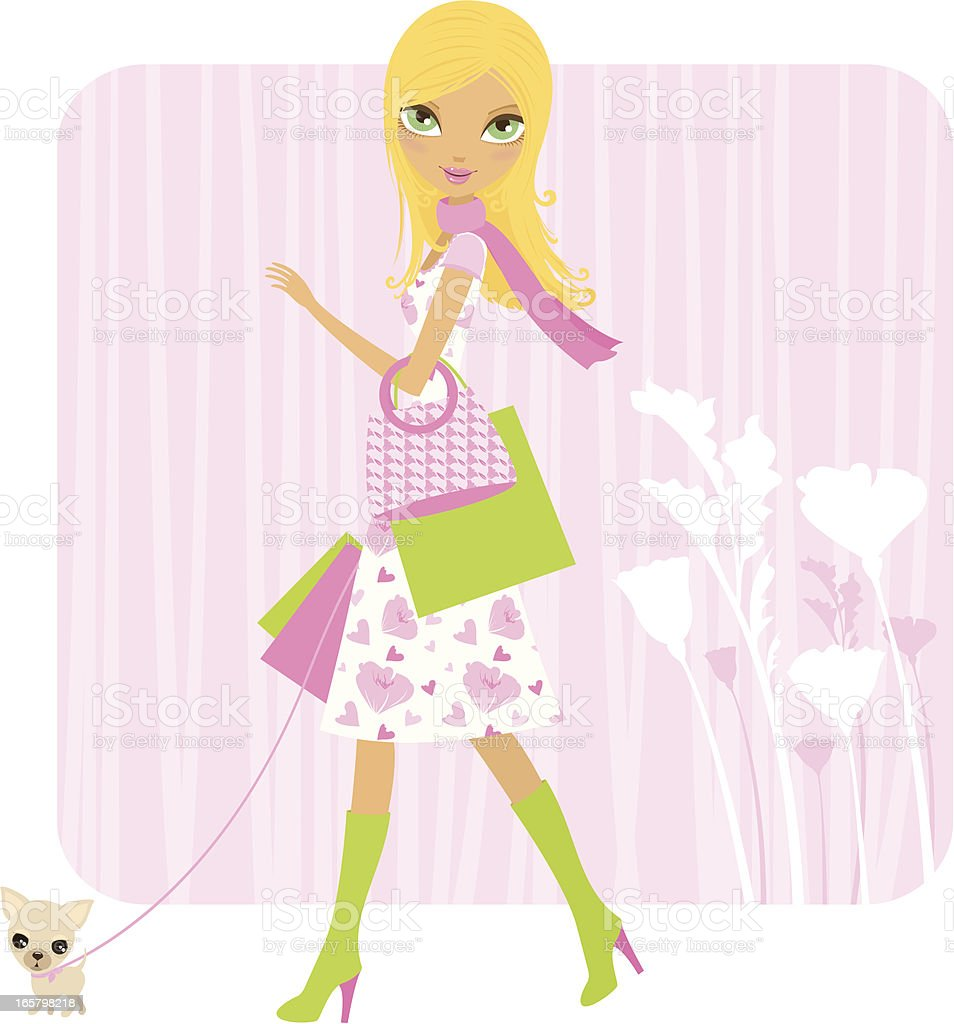 Spring shopping with the dog vector art illustration