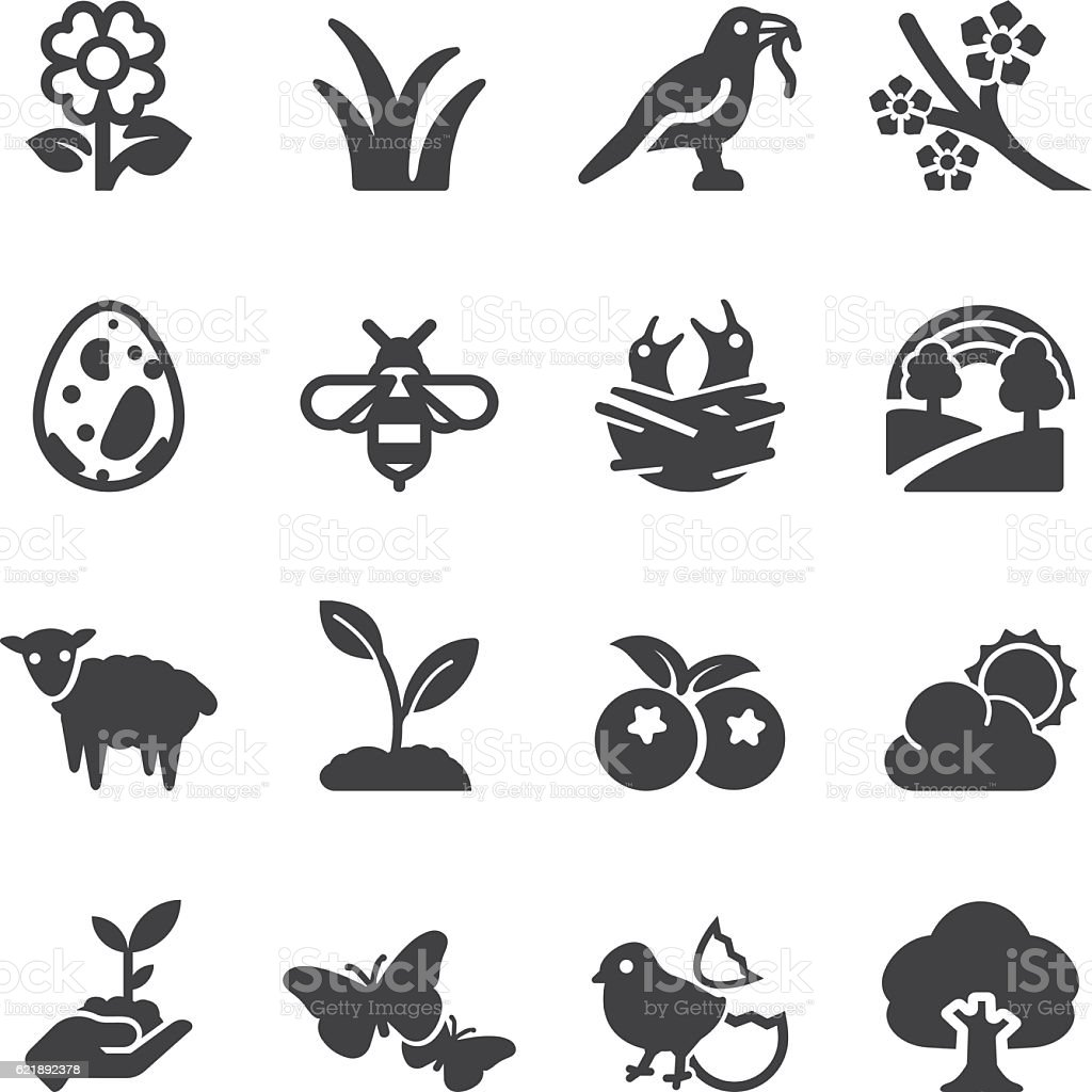 Spring Silhouette Icons | EPS10 vector art illustration