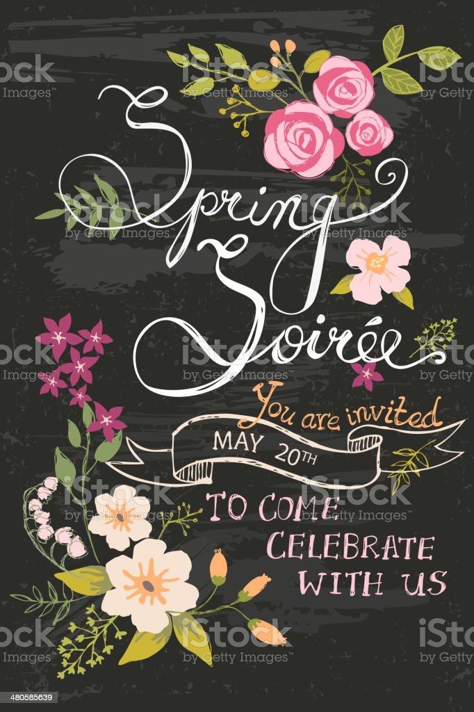 Spring Soiree Chalkboard vector art illustration