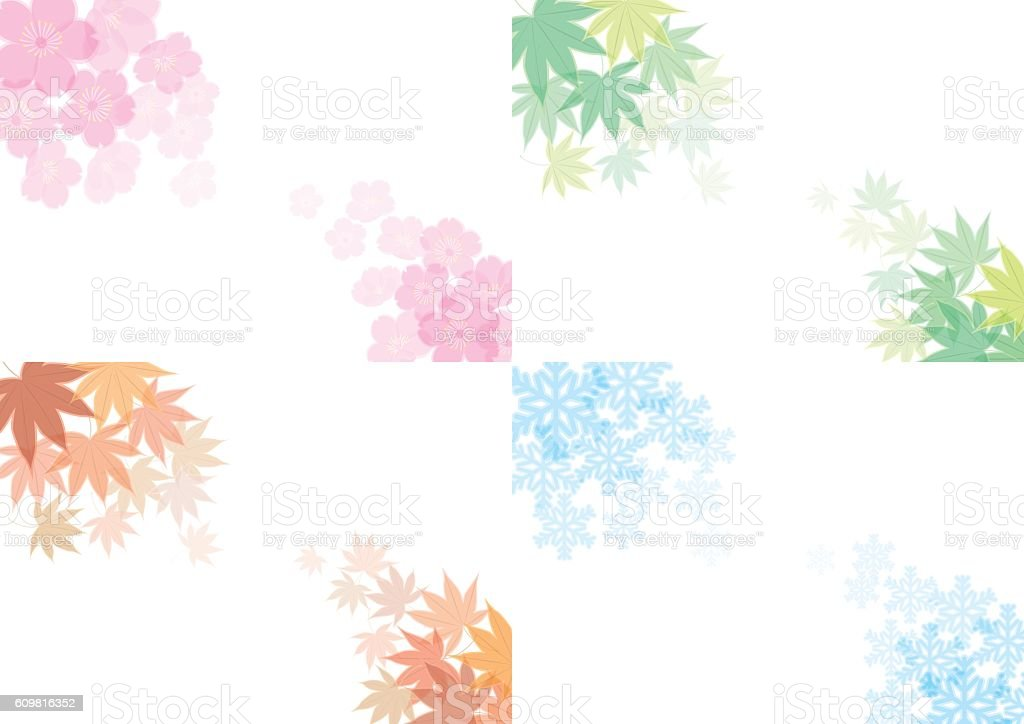 Spring, summer, fall and winter. Four seasons of background material. vector art illustration