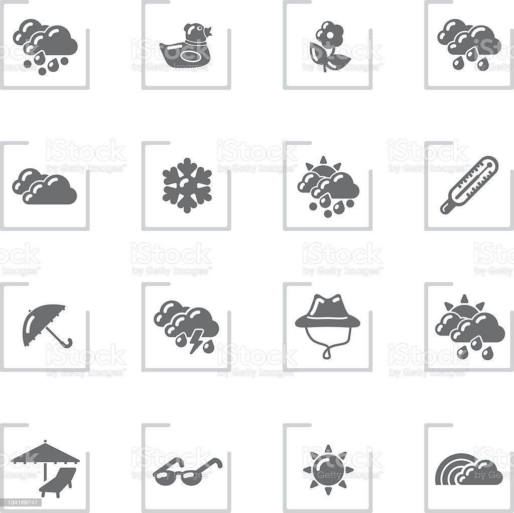 Spring & Summer Icons   Framed Grey royalty-free stock vector art