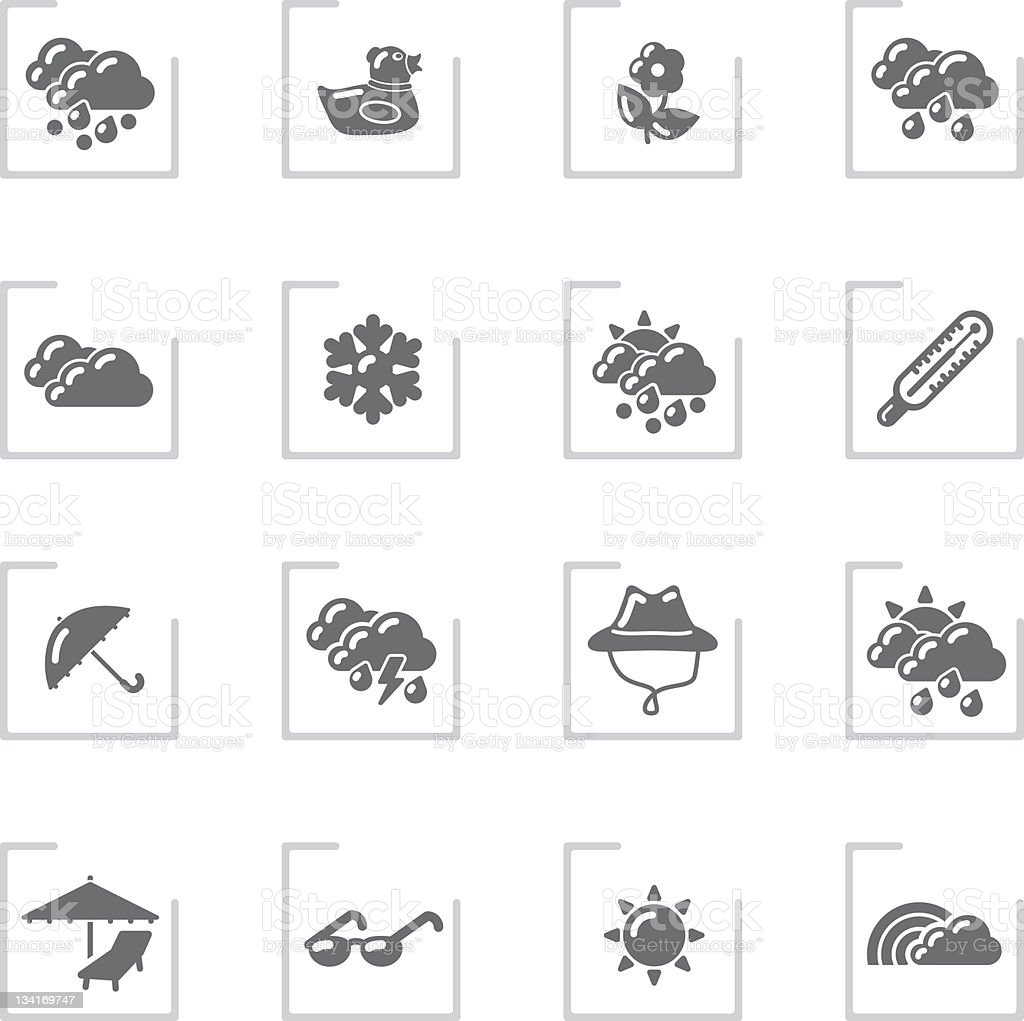 Spring & Summer Icons | Framed Grey stock photo