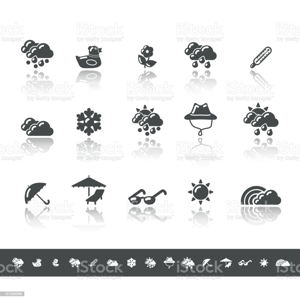 Spring & Summer Icons | Simple Grey royalty-free stock vector art