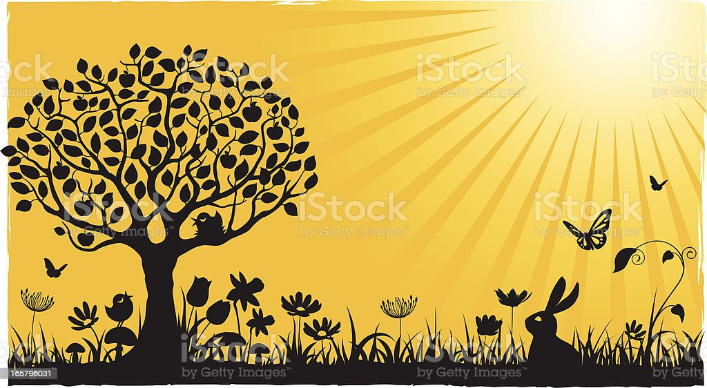 Spring / Summer on yellow royalty-free stock vector art
