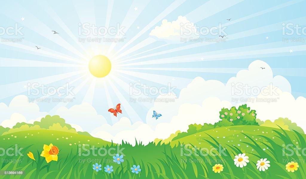 Spring sunny landscape vector art illustration