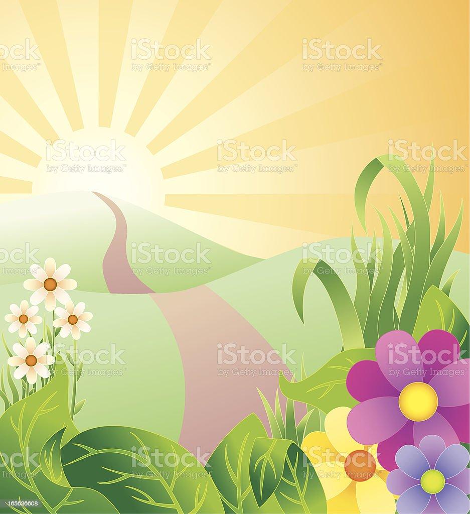 Spring sunrise vector art illustration