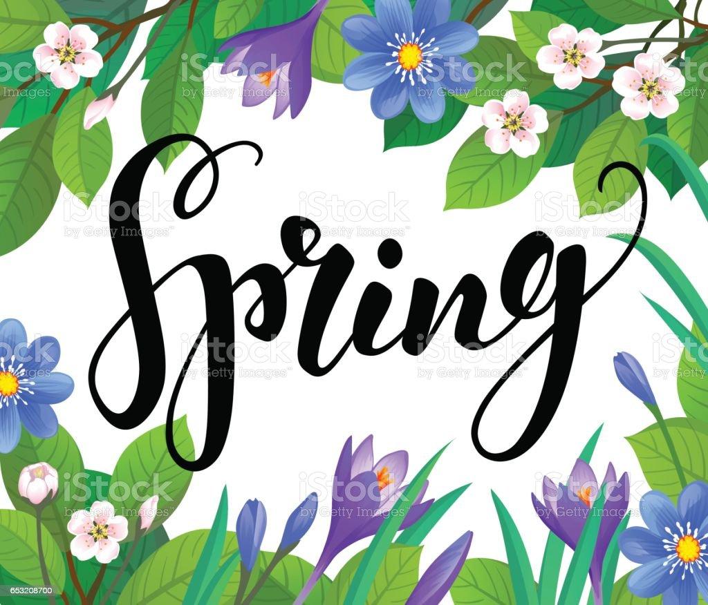 Spring text on floral background. vector art illustration