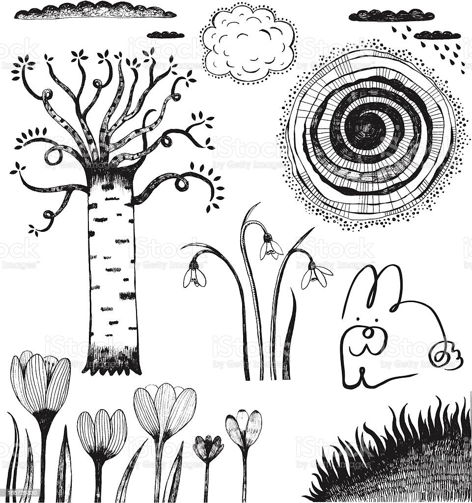 Spring theme doodles of birch, crocuses, grass, bunny and clouds royalty-free stock vector art