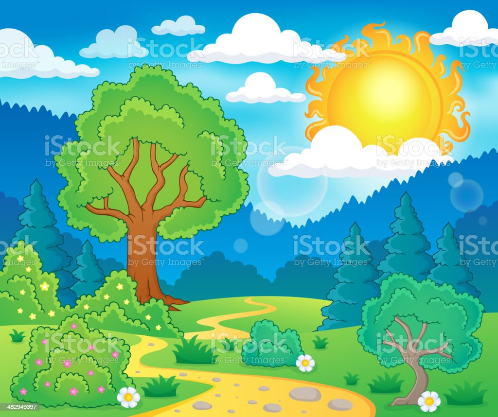 Spring theme landscape 5 vector art illustration