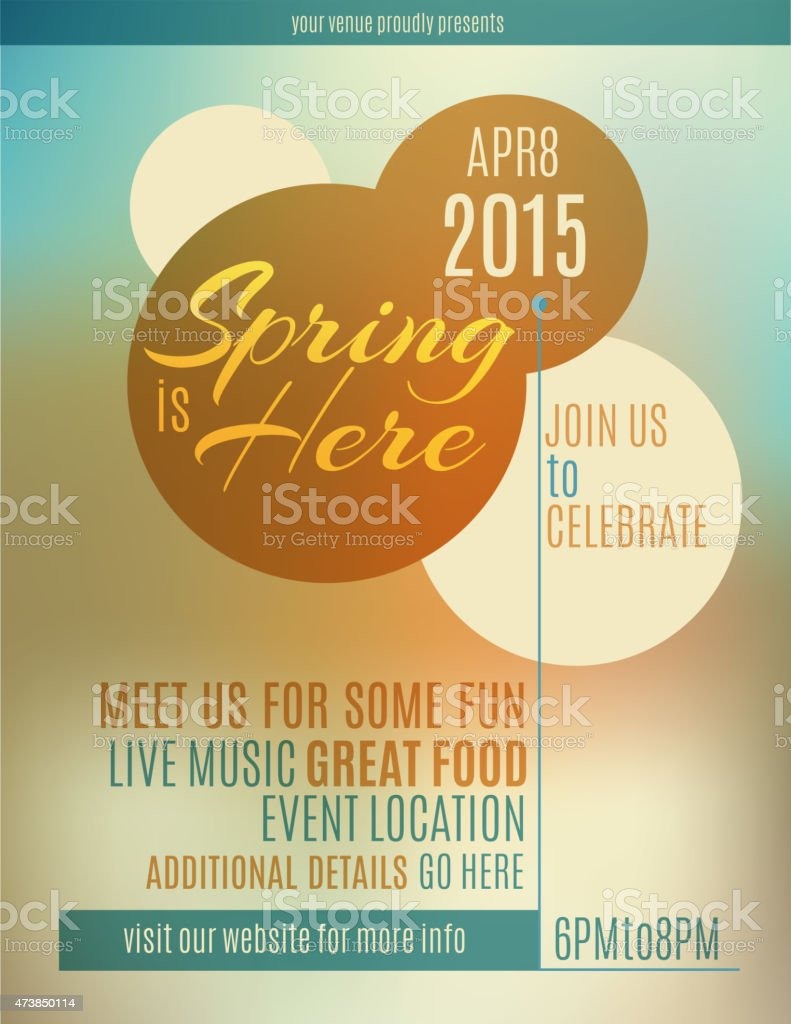 Spring themed live music flyer vector art illustration