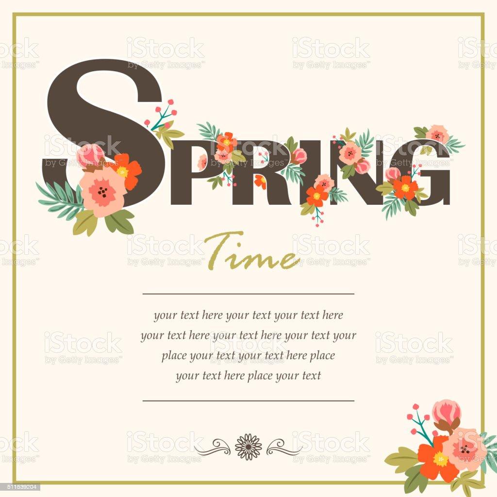 Spring time floral card vector art illustration