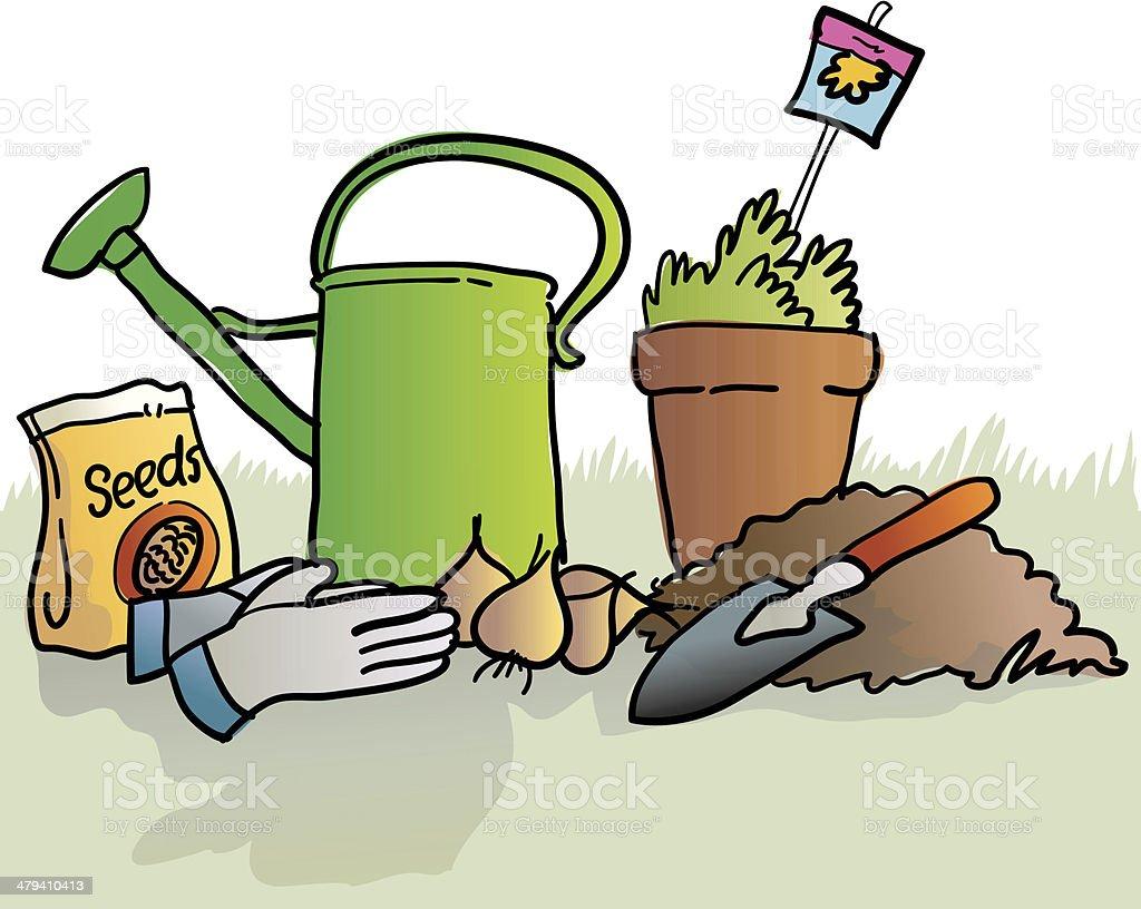 Spring time gardening royalty-free stock vector art
