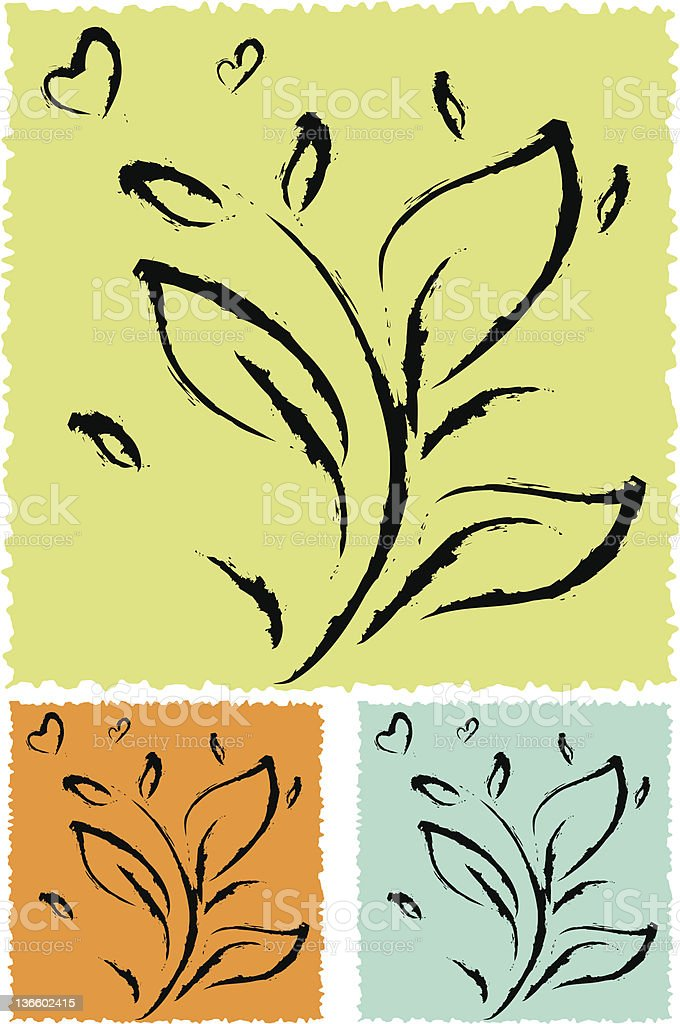 Spring time hand brush leaves royalty-free stock vector art