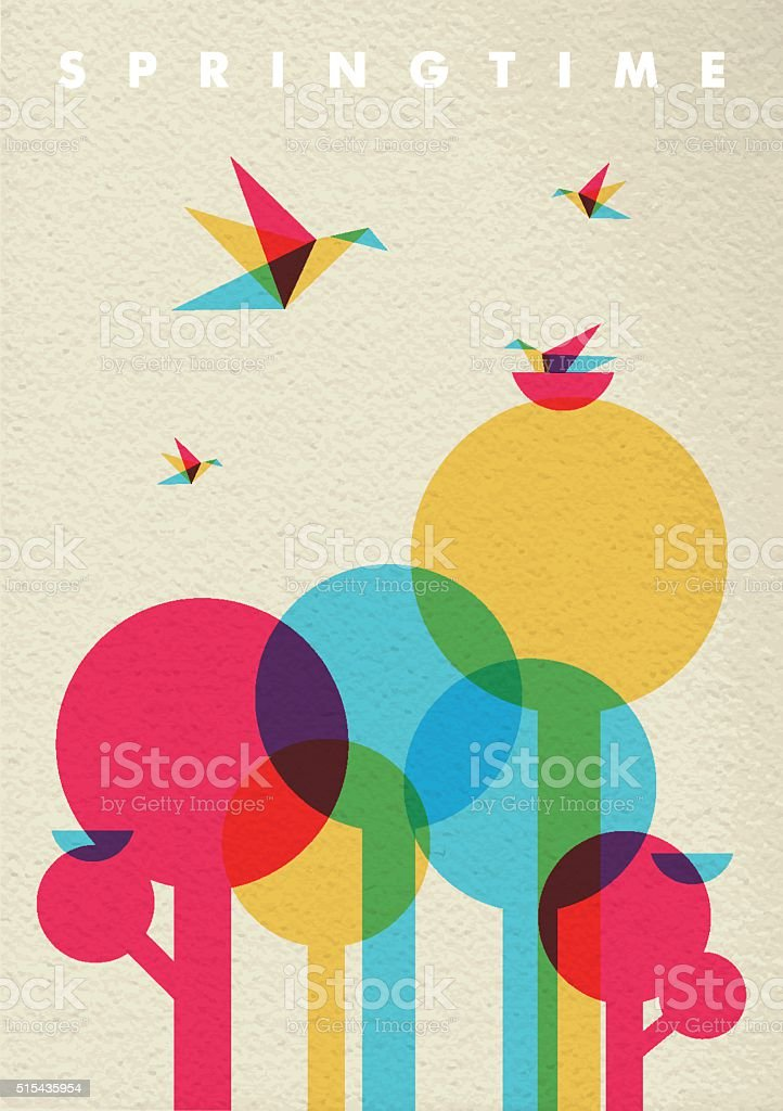 Spring time nature tree forest and birds vector art illustration