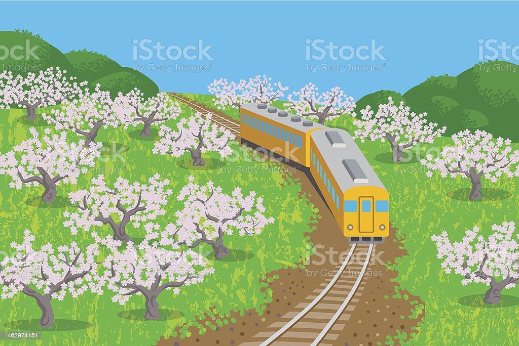 Spring Train-EPS10 vector art illustration
