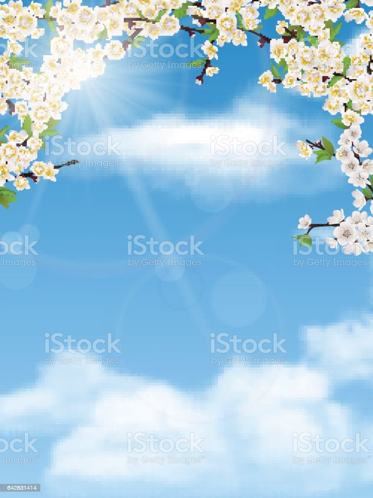 spring tree branches with leaves and flowers on sky vector art illustration