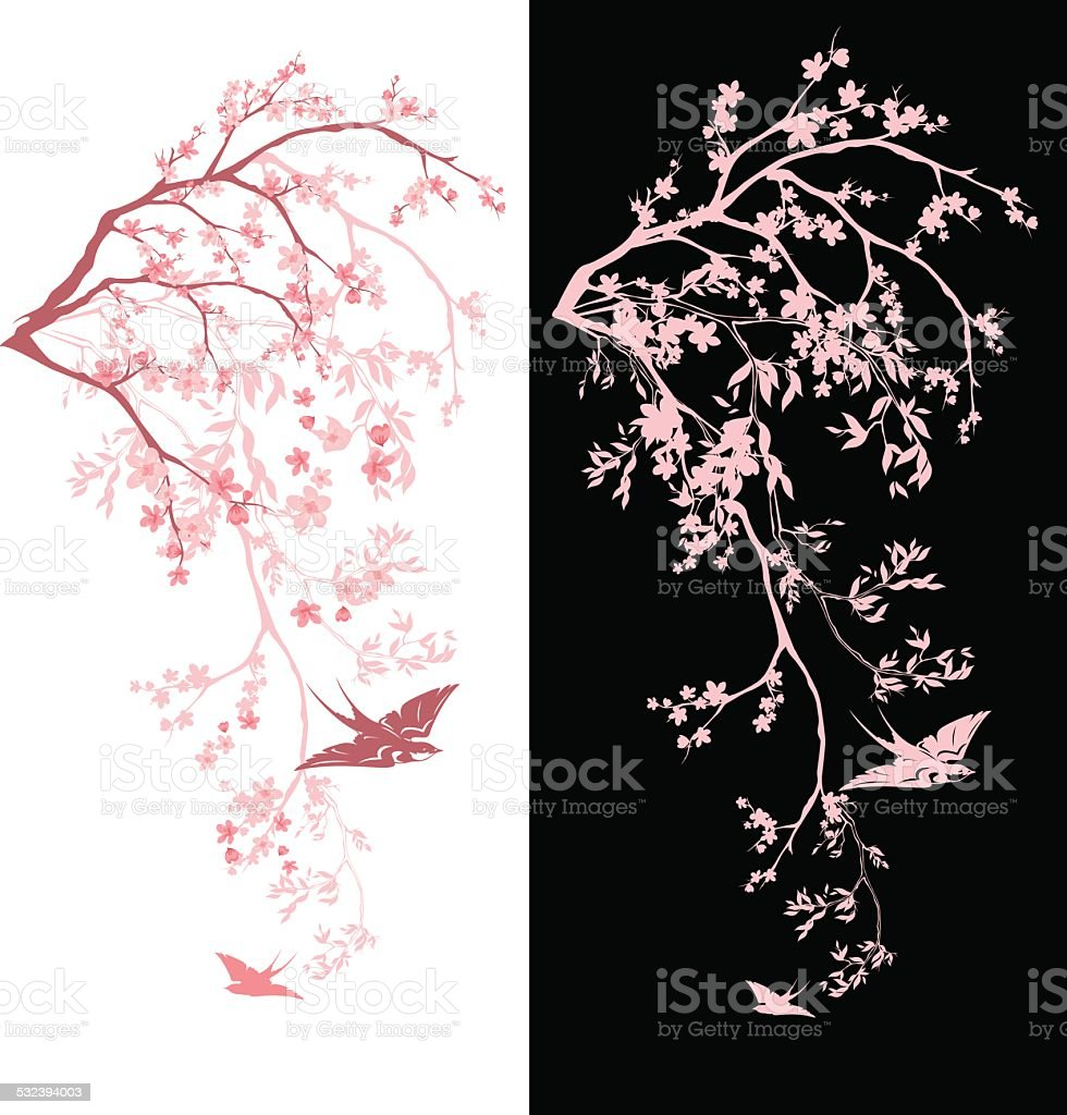 spring tree decor vector art illustration