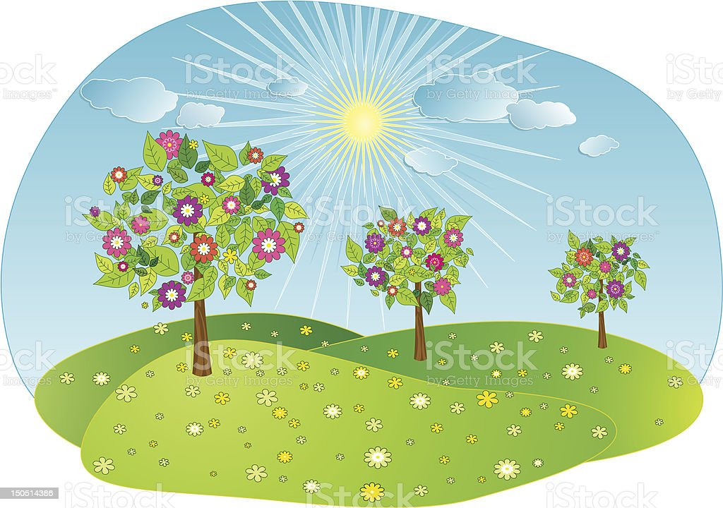 spring trees in the day - vector royalty-free stock vector art