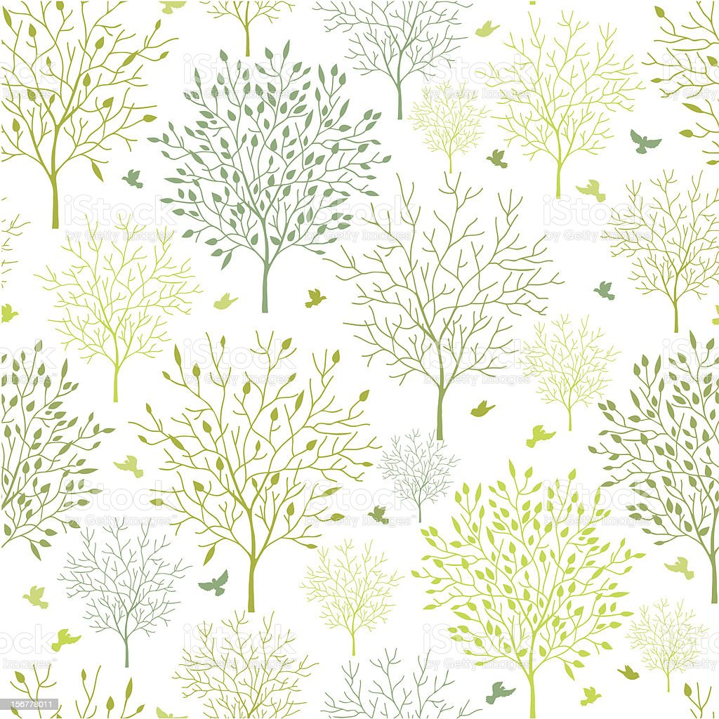 Spring Trees Seamless Pattern Background royalty-free stock vector art