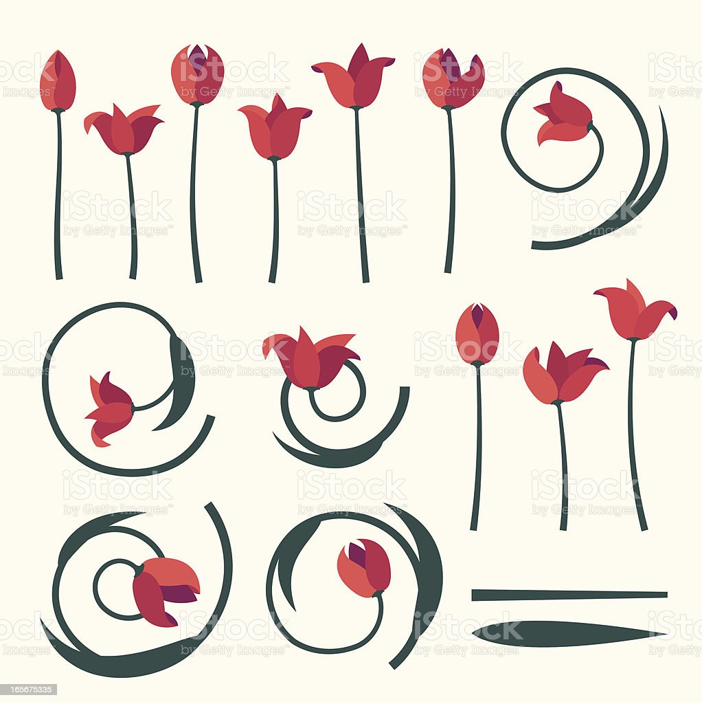 Spring tulips collection. vector art illustration