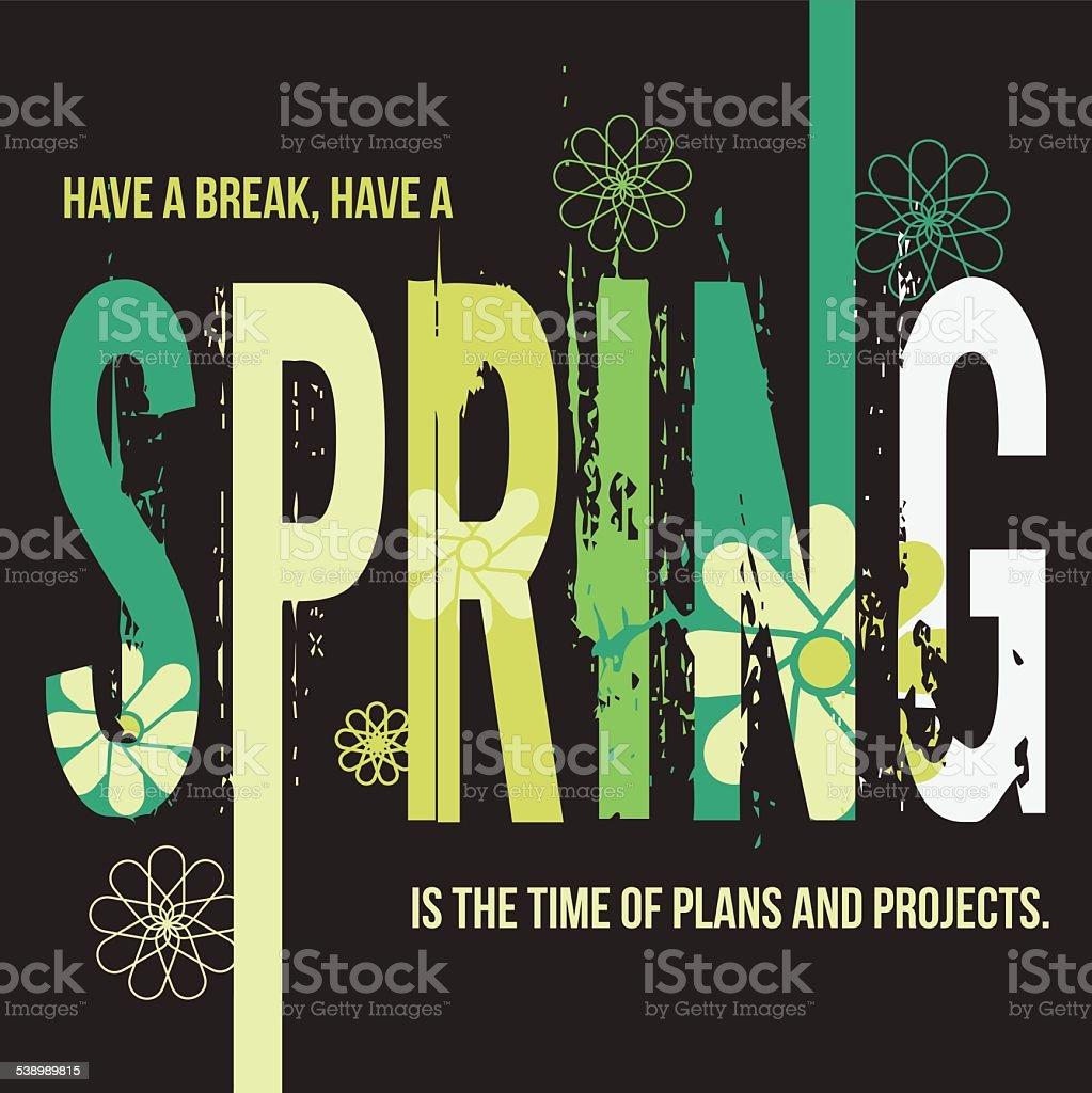 Spring typographic design poster vector art illustration