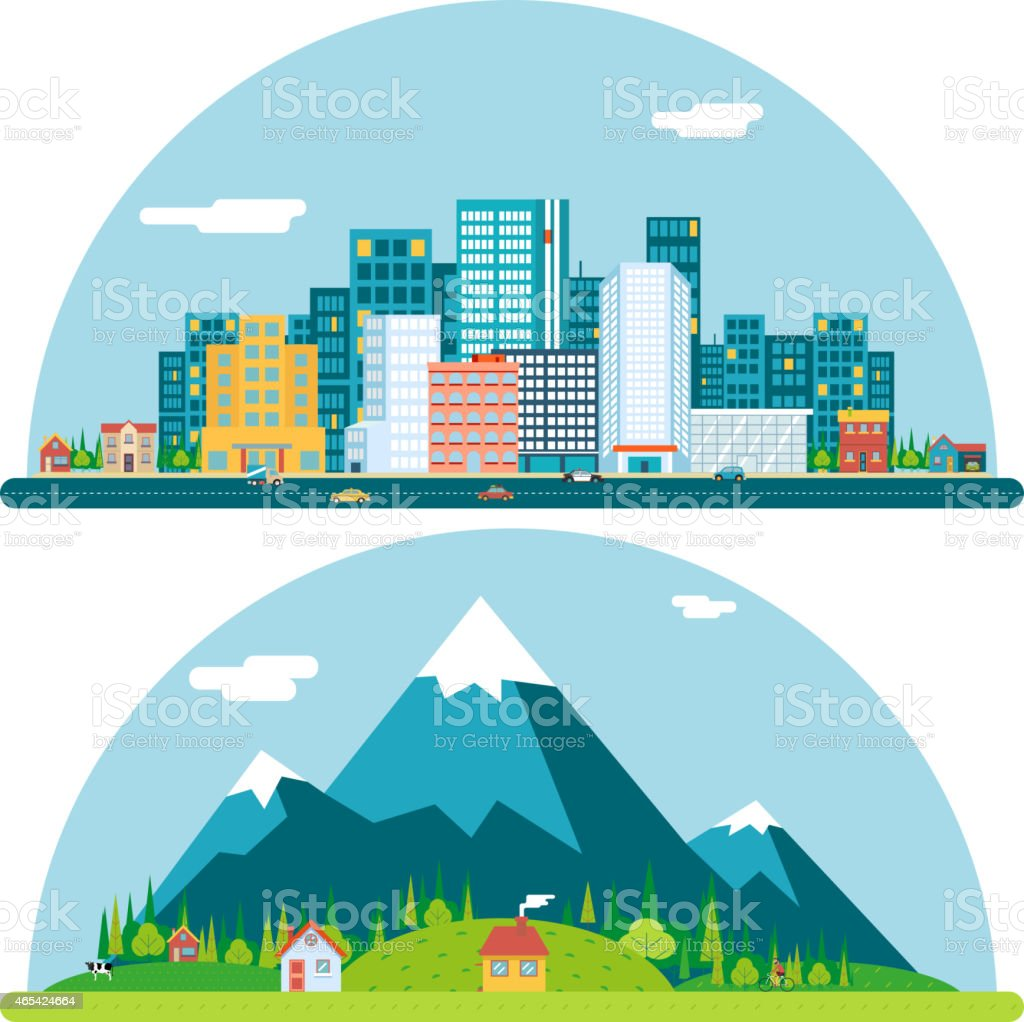 Spring Urban and Countryside Landscape City Village Real Estate Summer vector art illustration