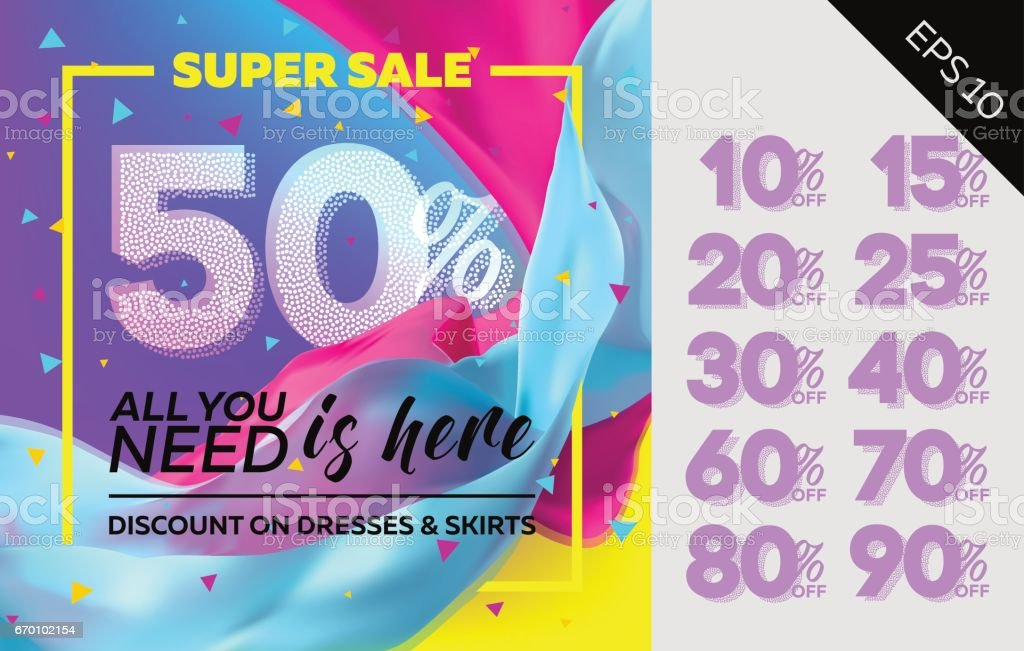 Spring Vector Sale Template with Flying Silk on Colorful Background. Bright Shopping Advertising. Design for Cloth Shop, Fabric Store, Web Banner, Pop-Up, Poster, Flyer. vector art illustration