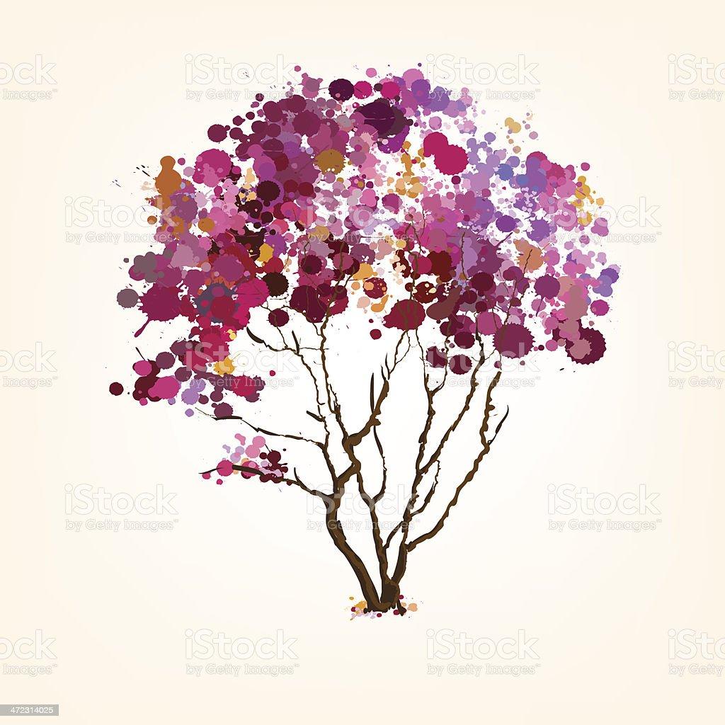 Árvore de vetor blots primavera vetor e ilustração royalty-free royalty-free
