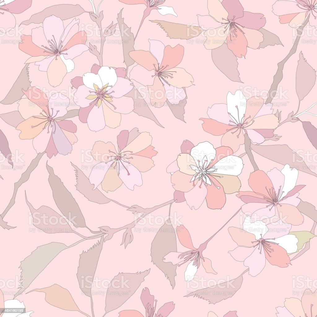 Spring wallpaper. Floral seamless pattern vector art illustration
