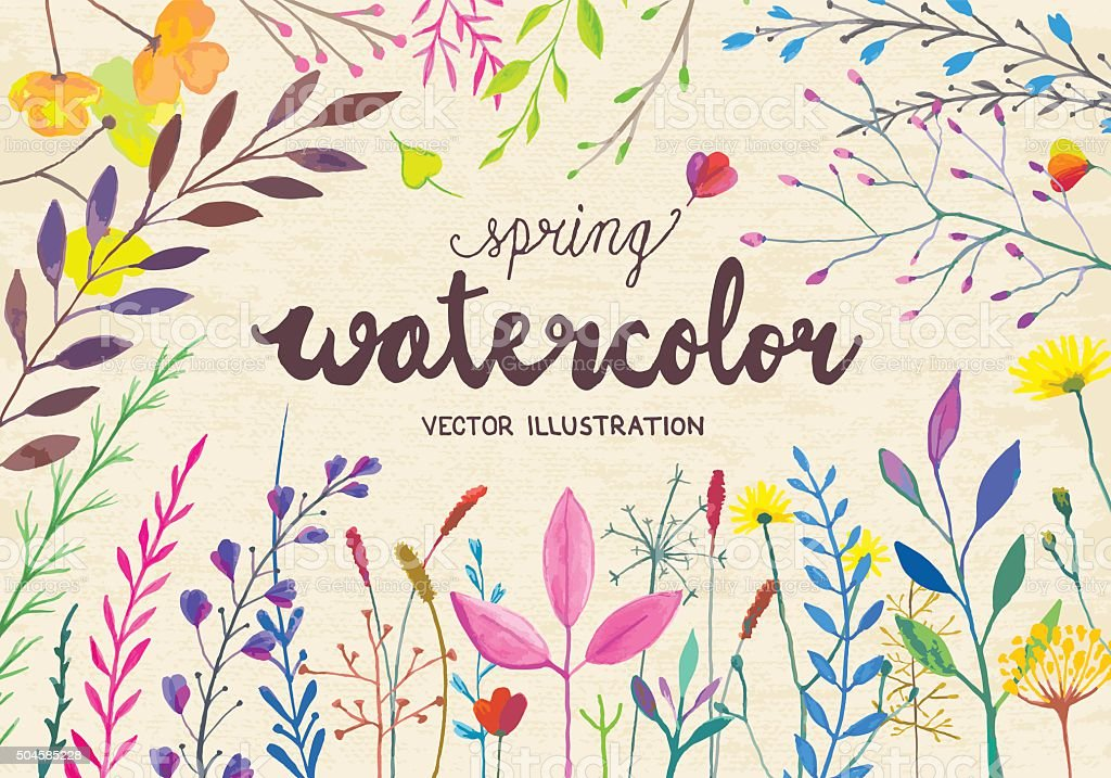 Spring watercolor vector art illustration