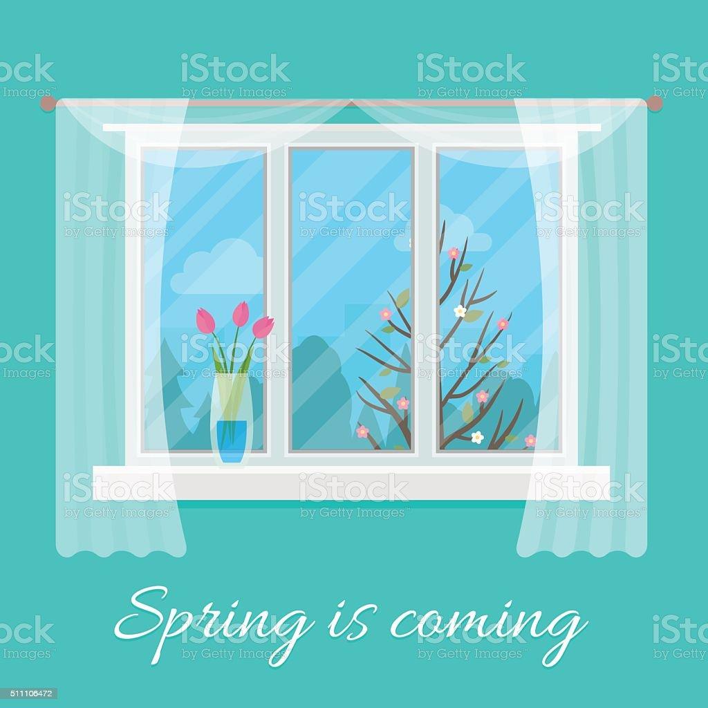 Spring window. vector art illustration