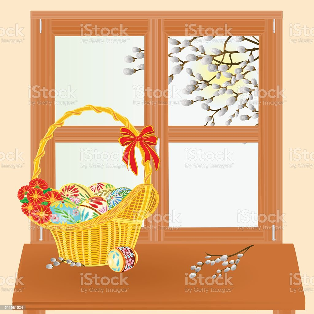 Spring window with Easter basket vector vector art illustration