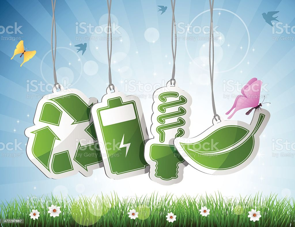 Spring with Recycling Tags royalty-free stock vector art