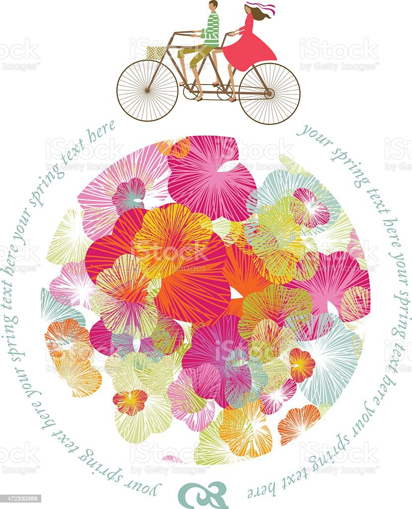 Spring world couple bicycle vector art illustration