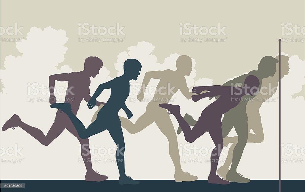 Sprint finish vector art illustration