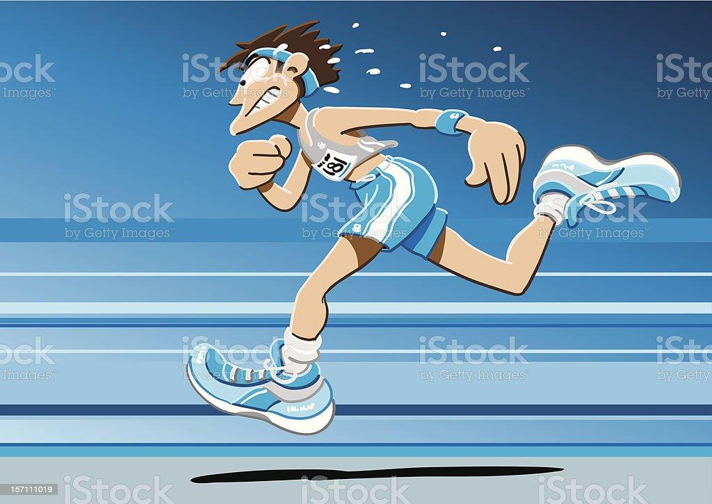 Sprinter Cartoon Man vector art illustration