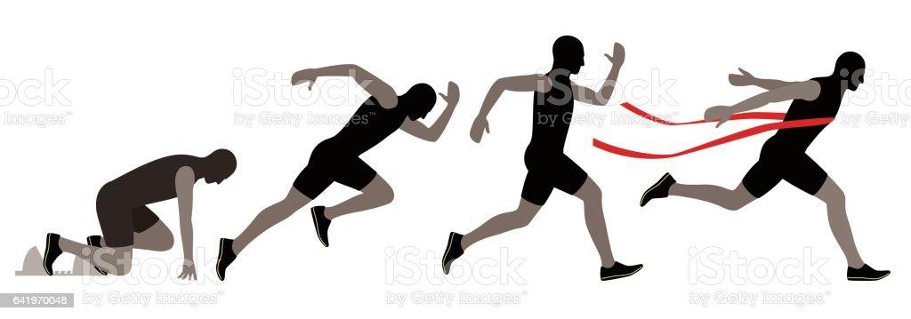 Sprinter leaving on the running track. explosive start, vector illustration vector art illustration