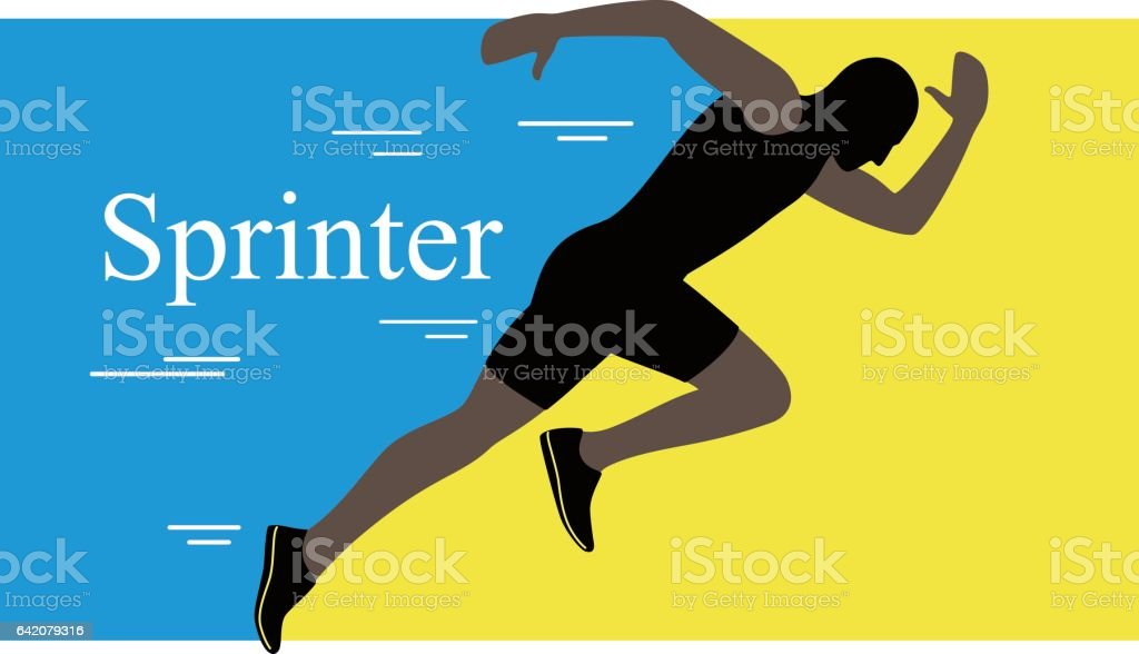 Sprinter leaving on the running track. explosive start, vector illustration vector art illustration