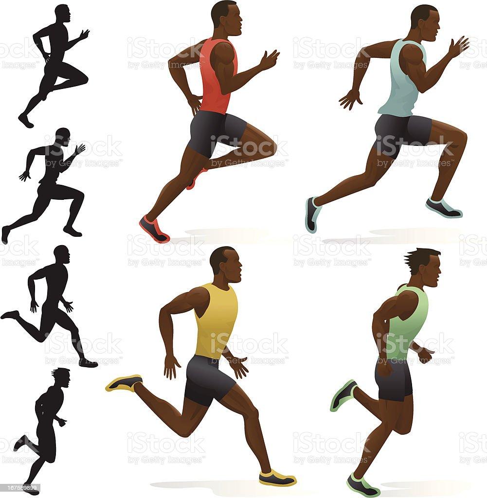 Sprinters vector art illustration