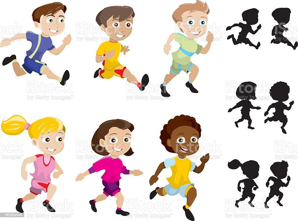 Sprinting Kids royalty-free stock vector art