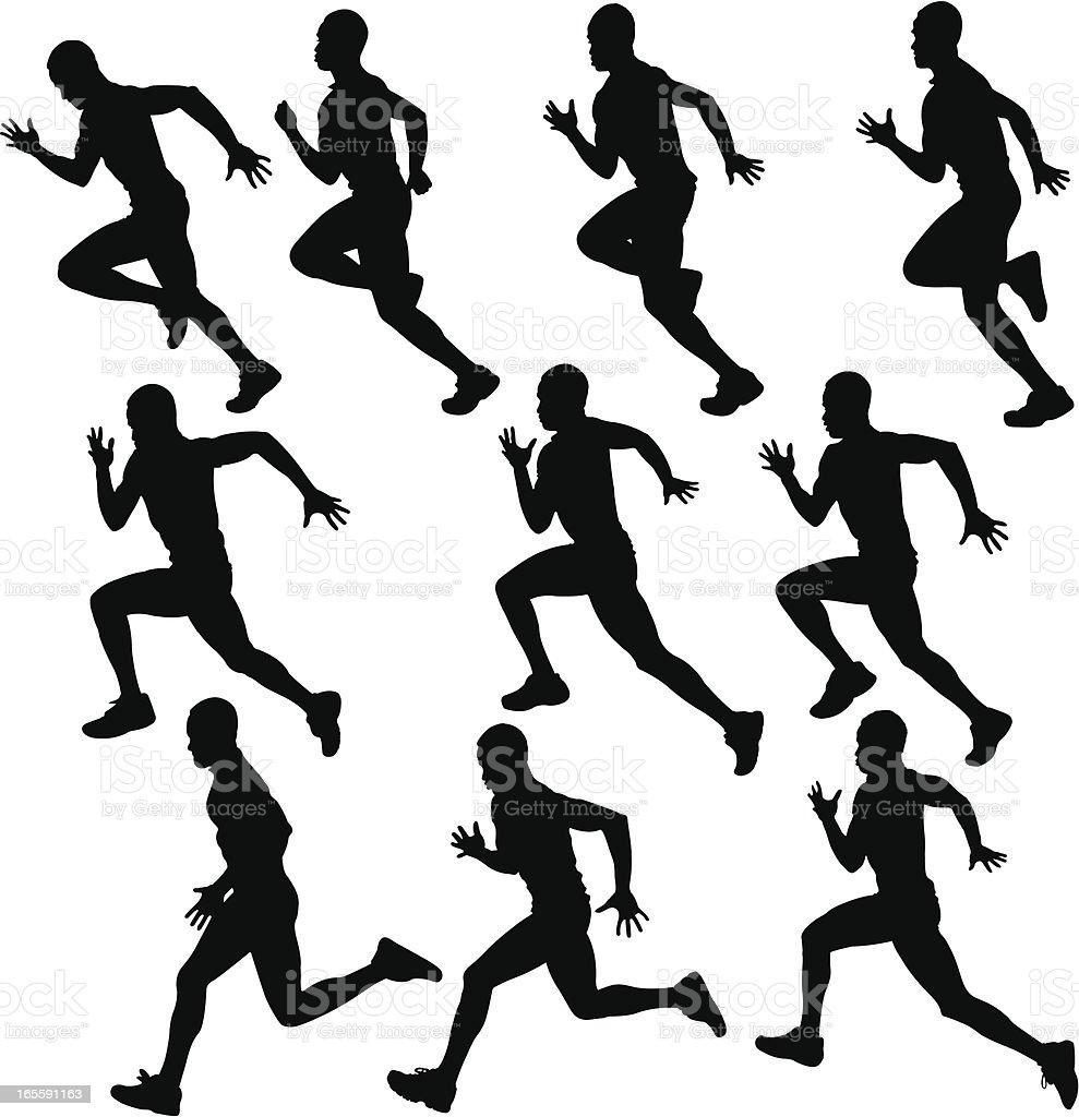 sprinting runner silhouette collection vector art illustration