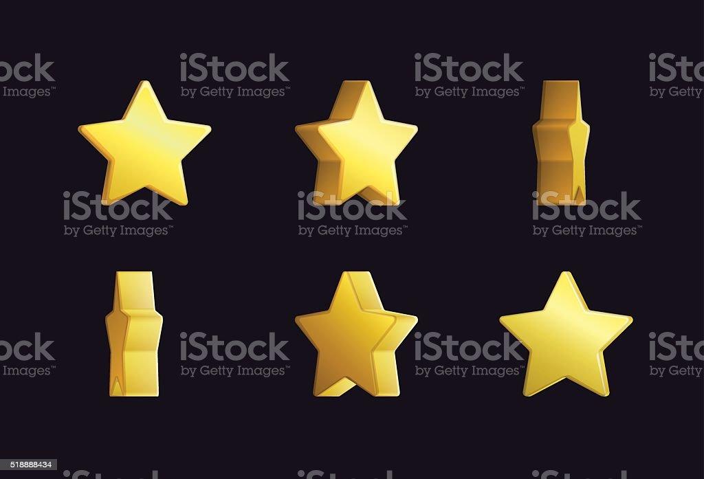 Sprite sheet effect animation of a spinning golden star vector art illustration