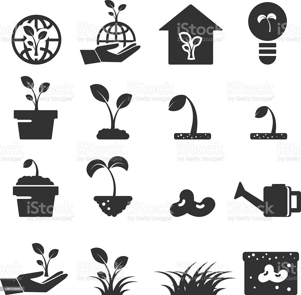 sprout icon set  symbols vector vector art illustration